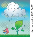 Happy rain. Vector illustration of a happy cloud raining over a happy plant and bird. - stock vector