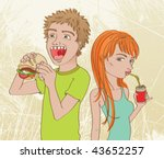 Boy eating sandwich, Girl drinking soda. Vector illustration of a couple of teens enjoying their snacks. - stock vector