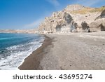 Santorini Vlichada beach, blue sky and sea - stock photo