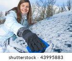 woman and car in winter - stock photo