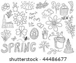 Springtime doodles, hand-drawn, isolated on white. - stock photo