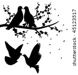 Silhouettes of flying pigeons and of two pigeons sitting on the branch of cherry blossom and kissing. - stock vector
