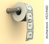 Big Money depicted as a roll of toilet paper on a bathroom dispenser - stock photo