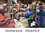 MALI - AUGUST 17: Market Day in Djenne, Monday marks one of the largest markets in Mali near the great mosque, August 17, 2009 in Djenne, Mali - stock photo