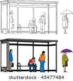 Vector sketch of bus stop with blank billboard and people waiting - stock vector