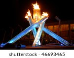 VANCOUVER, BC, CANADA - FEBRUARY 12: Vancouver 2010 Winter Olympic Games cauldron was lit by hockey great Wayne Gretzky at Convention Centre, February 12, 2010 , Vancouver, BC, Canada. - stock photo