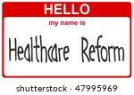 hello my name is healthcare reform red sticker - stock photo