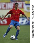 LEIPZIG, GERMANY - JUNE 14:  Fernando Torres of Spain in action during a World Cup  match against Ukraine June 14, 2006 in Leipzig, Germany. Editorial use only.  No pushing to mobile device usage. - stock photo