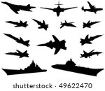 Silhouettes of military technics of different combat arms - stock vector