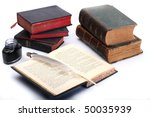 many old books and black ink - stock photo