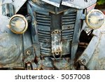 Front of rusty old pickup truck - stock photo