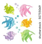 Set of color fishes on white background - stock vector