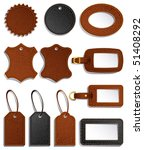 Vector illustration - set of leather luggage labels and tag - stock vector