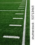 Sideline on American Football Field with Hash Marks - stock photo