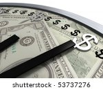 time is money, wall clock close-up with dollar signs instead of numbers on a background of a one hunderd US dollars banknotes, isolated on white, shallow depth-of-field with focus in foreground - stock photo