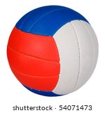 Ball with green, red and blue stripes, sport concept - stock photo