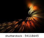 Orange flaming shattered glass background image isolated on black - stock photo