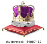 Kings crown on a pillow over a white background - stock photo
