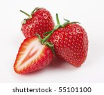 Fresh strawberry on a white background - stock photo