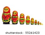 russian doll babushka single row - stock photo