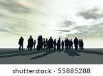a crowd of people against a bright sky - stock photo