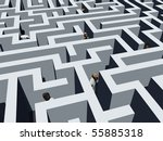 detail of a labyrinth with people - stock photo