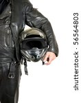 motorcycle biker with helmet closeup on a white - stock photo