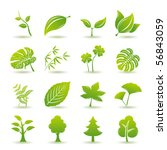 Green leaf icons set. Nature & ecology image. - stock vector