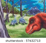 Dinosaur Painting - stock photo