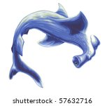 Hammerhead Shark Painting - stock photo