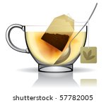 Vector image of a tea bag in the cup with hot water - stock vector