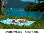 bavaria picnic with bread cheese egg - stock photo