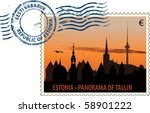 Vector postmark with Tallinn cityscape at sunset - stock vector