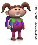 cute brown-haired girl with a satchel on her back and book under her arm - 3d rendering/illustration - stock photo