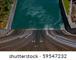Looking down the spillway at Shasta Dam, Northern California - stock photo