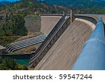 Shasta Dam near Redding, CA - stock photo