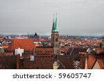 Historical Nurnberg and its cityscape and cathedral - stock photo