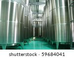 Modern cistern for wine storage. - stock photo