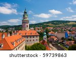River Vltava under Castle in Cesky Krumlov - stock photo