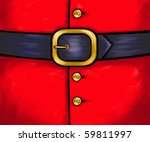 Ho ho ho buttons on Father Christmas's coat. Digital painting. - stock photo