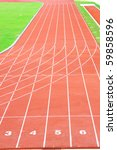 Straight Running Track With Lane Number - stock photo