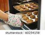 baking homemade oatmeal cookies - stock photo