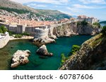 Dubrovnik scenic view on city walls - stock photo