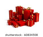 3D render of different sizes red gift box wrapped in golden ribbon - stock photo