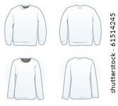 Sweatshirt design template set including male and female, front and back view - stock vector