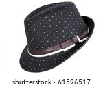 Black  a female hat with fields - stock photo