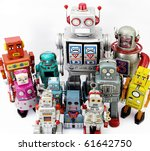 large retro robot group - stock photo