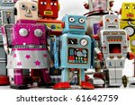 retro robot group - stock photo
