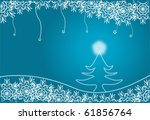 Christmas fur-tree against snowflakes - stock photo