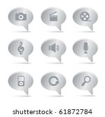 03Silver Bubbles Multimedia Icons Professional vector set for your website, application, or presentation. The graphics can easily be edited colored individually and be scaled to any size - stock vector